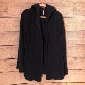 Free People Knit Cardigan Hooded Navy Pockets